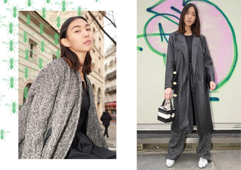 Left: MODEMENT | Right: Coat: Habey Club | Shirt + Trousers: Modement | Shoes: Simon Cracker | Bag: NASHA - Made in Mars